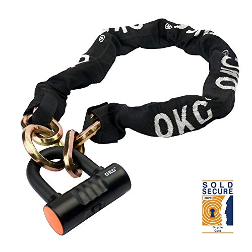 OKG New Vision Bike Lock Motorcycle Lock Heavy Duty Moped Chain Lock Combo with 12mm Chain and 16mm Disc Lock Security Chain Lock for Bicycles, Mopeds, Scooters and Motorcycles