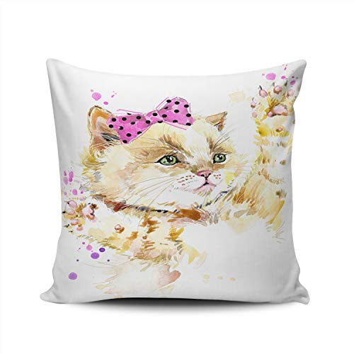KELEMO Square Pillowcase Fashion Cute Kitten Watercolor 18X18 Inch Throw Pillow Covers Decoration for Sofa Bed Double Sided Printed (Set of 1)