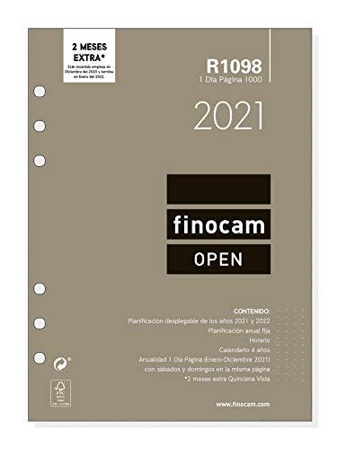 Finocam - Recambio Anual 2021 1 Día página Open R1098 Español, 1000-155x215 mm