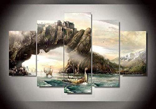 bnkrtopsu 5 Piezas Cuadro en Lienzo Cuadro Compuesto por 5 lienzos Impresos en HD, utilizados para decoración del hogar y Carteles Película Vikings 4 (150x80cm sin Marco)