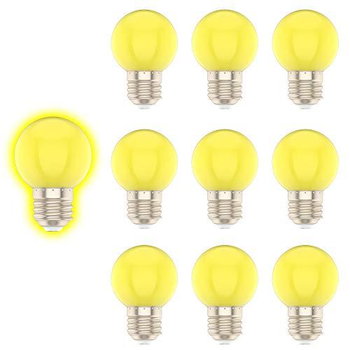 E27 G45 1W Farbige Glühbirne,Gelb, Geeignet für Weihnachtsdekoration, Gartendekoration, etc-10er Pack