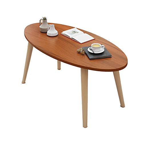 Table ovale à café - Côté salon - Table minimaliste en MDF avec pieds solides - Dimensions : 80 x 40 x 42,5 cm - Couleur : bois de santal