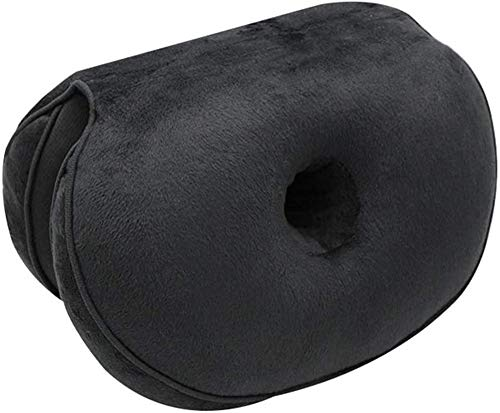 CATSAYS Dual Comfort Cushion Lift Hips Up Multifunction Folding Beauty Butt Posture Correcting Cushions for Pressure Relief, Fits in Car Seat, Home, Office (Black)