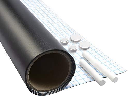 Werkzeyt Tafelfolie - 90 x 60 cm - Magnetisch - Selbstklebend & leicht anzubringen - Ideal zum Schreiben & Anheften von Notizen - Inkl. Tafelkreide & Magneten / Kreidetafel / Magnetfolie / B29209