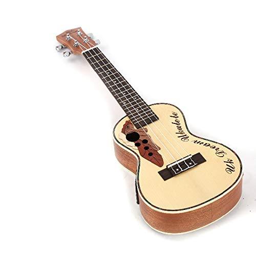LOIKHGV Elektrische Ukulele Musical 23 Zoll Fichte Sapele Traubenloch 4 Saiten Gitarre Mit Elektrobox Kleine Instrumente 12 Bünde, 23 Zoll