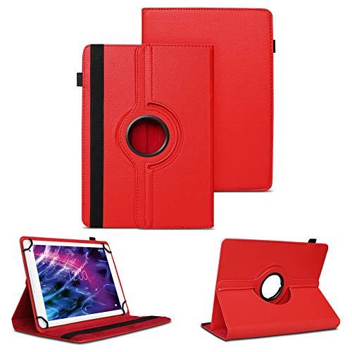 NAUC Tablet Schutzhülle für Medion Lifetab P10612 P10610 P10603 P10606 P10602 X10605 X10607 Hülle Tasche 360° Drehbar, Farben:Rot