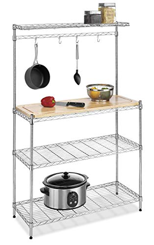 Whitmor Supreme Baker's Rack with Food Safe Removable Wood Cutting Board - Chrome (Renewed)