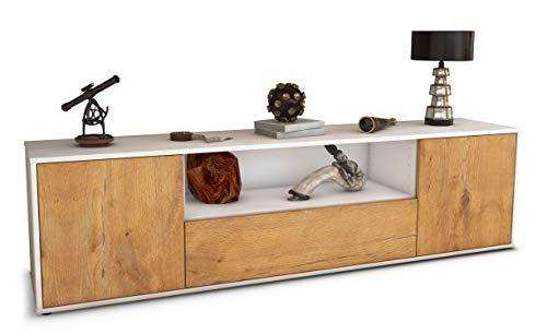 Stil.Zeit TV Schrank Lowboard Maximilian, Korpus in anthrazit matt/Front im Holz-Design Eiche (180x49x35cm), mit Push-to-Open Technik und hochwertigen Leichtlaufschienen, Made in Germany