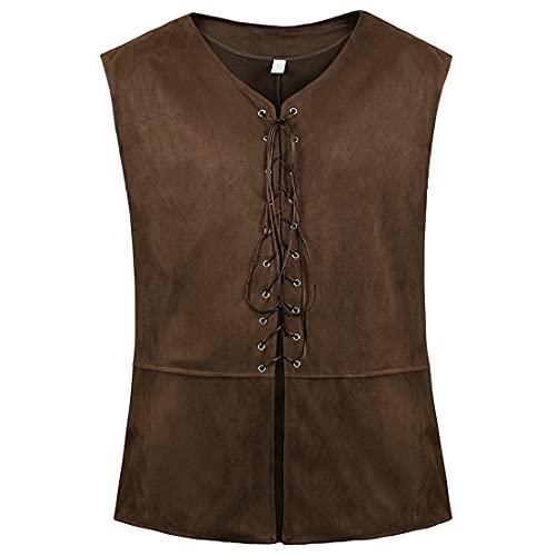 Haorugut Pirate Costume Men Vest Steampunk Costume Plus Size Gothic Waistcoat For Men Dark Brown L