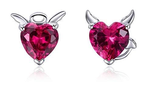Moda 925 Sterling Devil Pink CZ Heart Stud Pendientes para Mujer Joyería de Plata esterlina