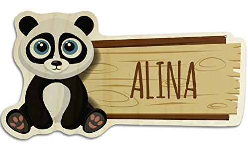 printplanet Türschild aus Holz mit Namen Alina - Motiv Panda - Namensschild, Holzschild, Kinderzimmer-Schild