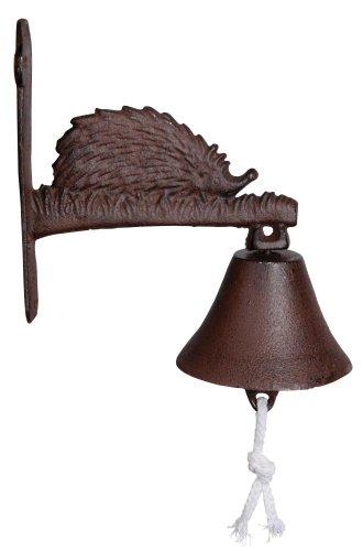 Esschert design cloche avec une mailloche, sonnette et rötlichem hérisson en fonte env. 21 x 11 cm cm cm x 21 cm