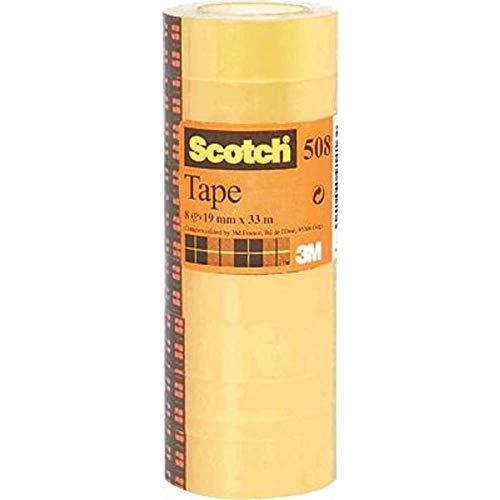 Scotch Cinta Adhesiva Transparente - 8 rollos - 19mm x 33m - Cinta Adhesiva para Uso General para el Colegio, el Hogar y la Oficina