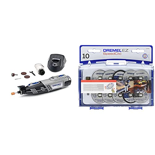 Dremel 8220 Multiherramienta a batería. Incluye 5 Accesorios y Complemento Resguardo de Protección. 12V + SC690 Juego de Accesorios de Corte EZ SpeedClic para Herramientas Rotatorias