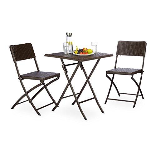 Relaxdays Gartenmöbel Set BASTIAN, 3 teilig, Sitzgruppe klappbar, quadratischer Klapptisch und 2x Gartenstuhl, braun