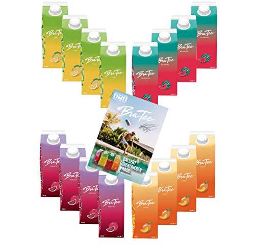 Capital BraTee 16er Tasting Set Eistee je 750ml mit Autogrammkarte BRATEE Ice tea 4x Wassermelone 4x Zitrone 4x Pfirsich 4x Granatapfel - mit Capi-Qualitäts-Siegel