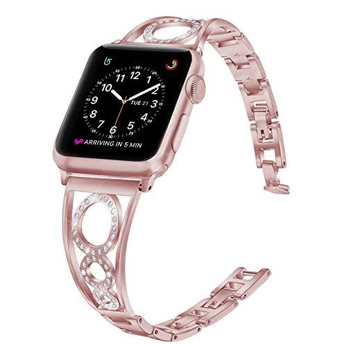 Fhony Correa para Apple Watch 38mm 40mm 42mm 44mm Correa Pulsera de Repuesto de Diamante Acero Inoxidable Bling Rhinestone Watchband Pulsera para Iwatch Series 6/5/4/3/2/1/SE,Rosado,42/44mm