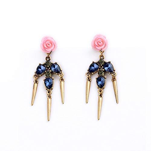 ZHWM Aretes Pendientes De clip Aros Elegante Joyería Azul Antiguo Remache Rosa Flor Araña Pendientes para Mujeres Niñas Accesorios De Regalo
