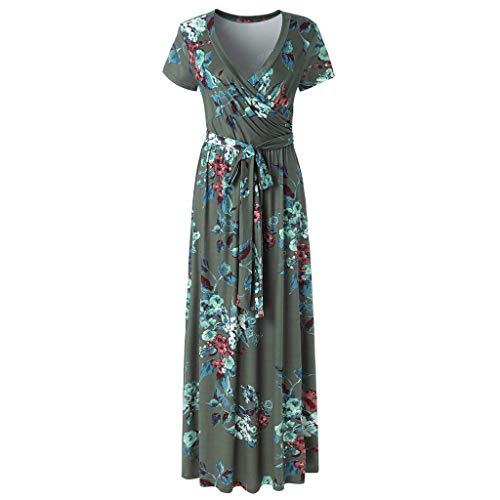 Amazing Deal OFEFAN Women's V-Neck Pattern Pocket Maxi Long Dress Green