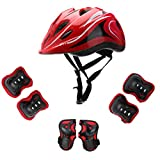 Kids Helmet Knee Elbow Pads Wrist Guard Sport Protective Gear Adjustable Scooter Skateboard Roller Bike Skate Cycling Safety Set for Boy Girl 5-12 Years(Red)