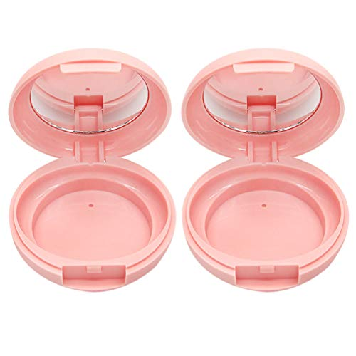 Beaupretty 2 Pcs Lâche Boîtes de Poudre Vides Conteneurs de Maquillage Portable Cosmétiques Rechargeables Conteneurs avec Miroir sans Poudre Bouffée Rose