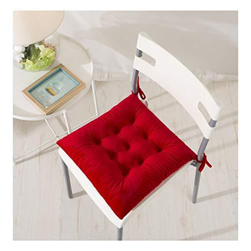 VISZC Cojín de silla con cintas, suave y cómodo de exposición de silla hecha de 100% algodón grueso acolchado para silla de jardín, cocina o silla de comedor (verde oscuro, 40cmx40cm) rojo-40X40