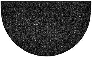 Nicoman Embossed Halfmoon Half Circle Door Mat Dirt-Trapper Jet-Washable Doormat 70x44cm (Black, Plain) - Use Outdoor ONLY