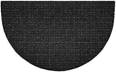 Nicoman Embossed Halfmoon Half Circle Door Mat Dirt-Trapper Jet-Washable Doormat 70x44cm (Black, Plain) - Use Indoor or Sheltered Outdoor