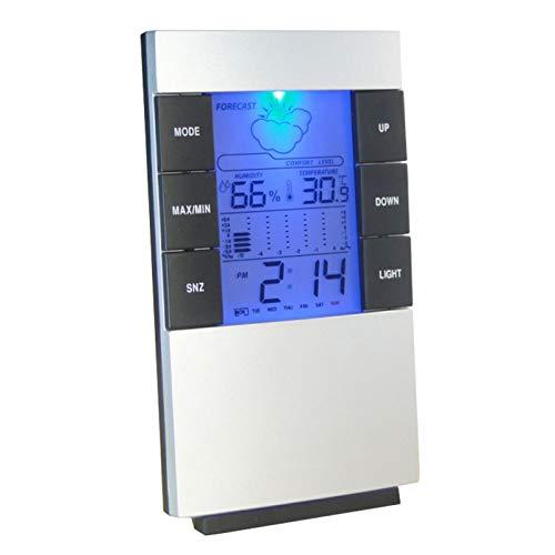 Termómetro electrónico para interiores con precisión higrómetro para el hogar con retroiluminación LCD, tiempo y pronóstico meteorológico, reloj despertador adecuado para el hogar, la oficina
