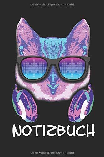 Notizbuch: Notizbuch A5 Kariert auch als Tagebuch Lustig Geschenk Journal Buch mit Hipster Katze und Kopfhörer