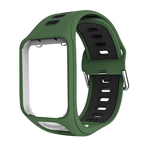OUSMIN Tomtom Correa para Tomtom Spark 3 Runner 3 Runner 2 Golfer Adventurer Cardio Music GPS Smartwatch, Multisport Correa Reloj Profesional Accesorios Premium Pulsera (verde)