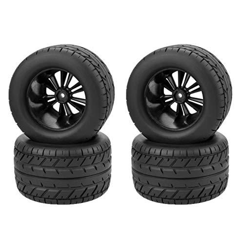 harayaa Neumáticos RC Ruedas 1/10 neumáticos Monster Truck Buggy 4 Piezas Llantas hexagonales de 12mm y neumáticos para Accesorios de Coches de Carreras, para