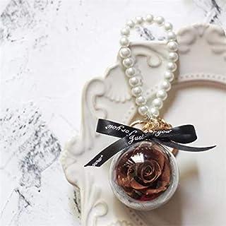 永遠のバラ母の日ギフトプレゼントドームパールの飾りキーホルダーの特別ロマンチックなギフトで永遠にバラ HYFJP (Color : グレー, Size : 5cm)