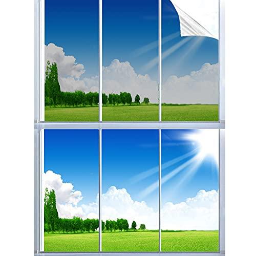Bequertige Spiegelfolie Selbsthaftend Fensterfolie Fenster Reflektierende Sonnenschutzfolie Innen UV-Schutz Wärmeschutzfolie Anti-Datenschutz Für Zuhause Badzimmer oder Büro Silber (90x200cm)