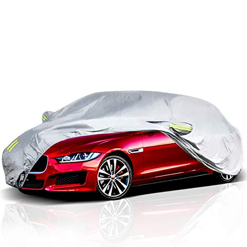 ELUTO Car Cover Outdoor Sedan Cover Waterproof Windproof All Weather Scratch Resistant Outdoor UV Protection with Adjustable Buckle Straps for Sedan...