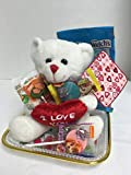 Gift set Mother's Valentine's Day for Her (1) 6 Inch I Love You Teddy Bear (1) Heart Shape Tray (1) Assorted Goodies White Plate