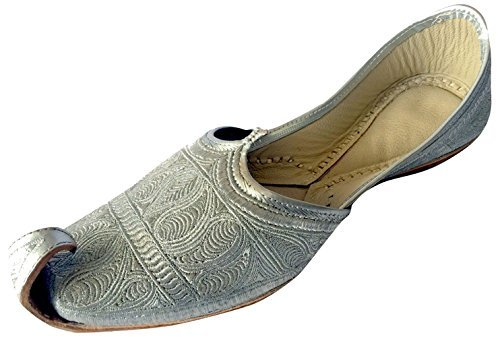 Step n Style Men's Flat Full Silver Zari Khussa Shoes Traditional Indian Leather Loafer Punjabi Jutti (10.5)