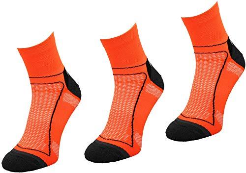 Comodo 3 Pares de Calcetines de Ciclismo | Mujeres/Hombres | Calcetines funcionales | Bicicleta | Deportes | BIK1 | Neon/Naranja | Tamaño: 43-46