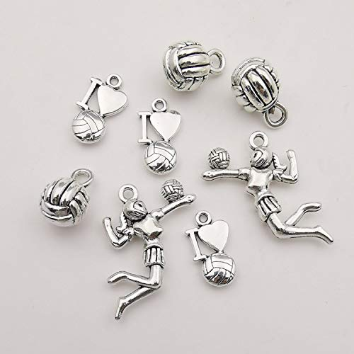 Ball Sports Charms-45pcs Alloy Love Volleyball Ball Sports Fitness Charms Pendants Beads Charms for DIY Jewelry Making Bracelet Necklace Earrings Parts (M322)