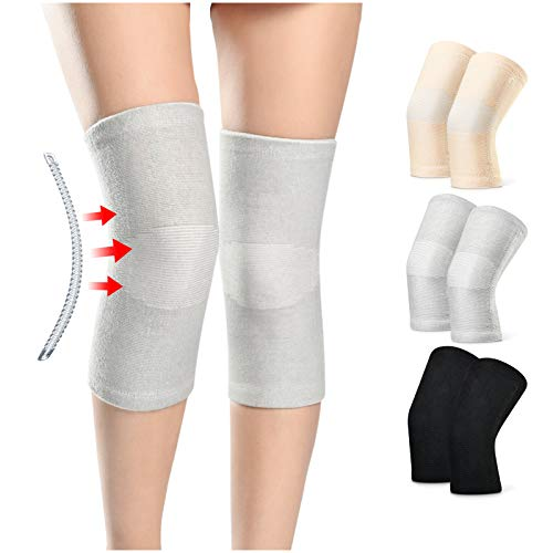 A Pair of Knee Brace Compression Sleeve Leg Support Wraps with Side...