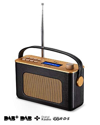 UEME Retro Digitalradio mit Bluetooth, DAB+ DAB UKW Radio, Radiowecker, und Leder Verkleiden (Schwarz)