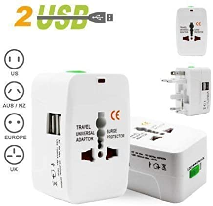 Bulfyss Universal Worldwide Travel Adapter with Built in Dual USB Charger Ports (White)