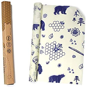 PR PeakRous Beeswax Wrap, Reusable Food Beeswax Wrap, Roll (13 x 39''), Natural Food Grade Wax Wrap, 100% Organic Cotton, Eco Friendly, Sustainable Wrap Set for Kitchen Food Storage