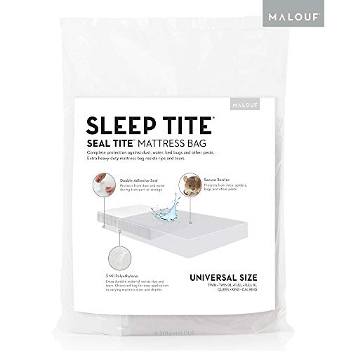 MALOUF Seal Tite Heavy-Duty Sealable 94' x 96' Mattress Storage Bag, King/California King, Clear
