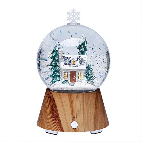 HTDZDX LED-Baum-Haus-Kristallkugel Nachtlicht, bunte drahtlose Bluetooth Lautsprecher-Massivholz Schlafzimmer Nachttischlampe, Weihnachten [Energieklasse A]