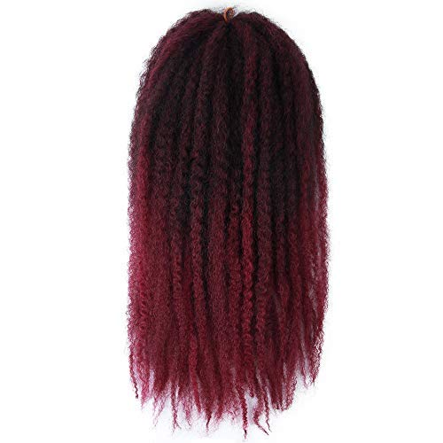 Marley Hair Ombre 4 Packs Afro Kinky Curly Crochet Hair 18 Inch Long Marley Twist Braiding Hair Kanekalon Synthetic Marley Braids Hair Extensions for Women(#T1B/BUG)