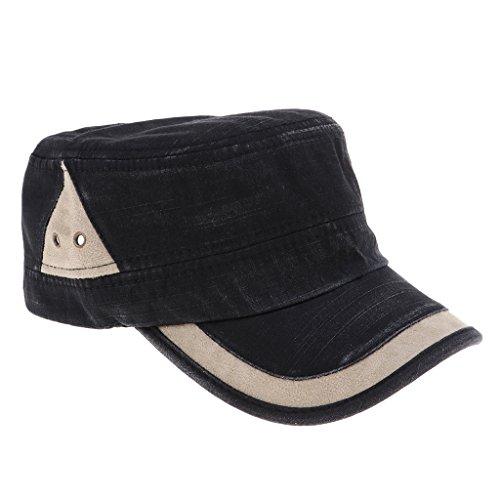 Sombrero Plano de Algodón Unisex Casquillo Tapa de Cadete Gorro Militar con Visera Protección Solar para Deporte al Aire Libre - Estilo 1-Negro, como se describe
