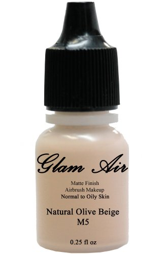 Glam Air Airbrush Makeup Water Based Foundation in Matte Finish for Flawless Looking Skin (0.25oz Bottles) (M5 NATURAL OLIVE BEIGE) by Glamair