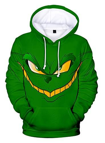 QYIFIRST Sudadera unisex con estampado 3D de anime, con capucha, para Navidad, cosplay, disfraz para hombre y mujer, color verde, talla 4XL (pecho 122 cm)