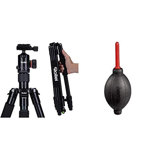 Rollei C5i - kompaktes, leichtes, Allround Fotostativ aus Aluminium mit Kugelkopf und Stativtasche & Hama Blasebalg zur Kamera- und Objektivreinigung (Länge 16,6 cm, Dust Ex) rot/schwarz